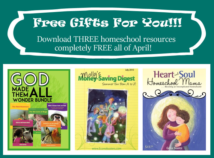 Free downloadable resources for homeschool moms (or any moms, really). For the month of April only -- don't miss out! | Running With Spears #freebies