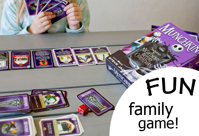 Family Game Night - great tabletop games for families to enjoy...no sorry or monopoly here! Munchkin Nightmare Before Christmas! | Running With Spears #games #familyfun