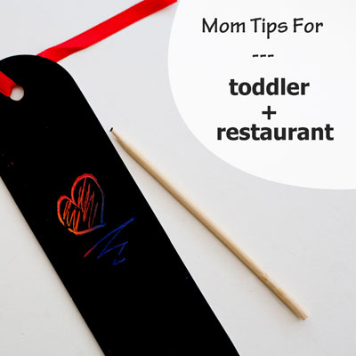 Mom Hacks - pack small toddler friendly activities in your diaper bag for times you have to wait, like at restaurants. | Running With Spears #toddlers #parenthacks
