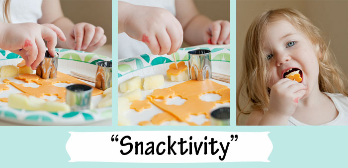 Snacktivity --- kids make themselves cute food so it's less work for you -- and they have fun doing it! Win-win! |Running With Spears #kidfood #parenthacks