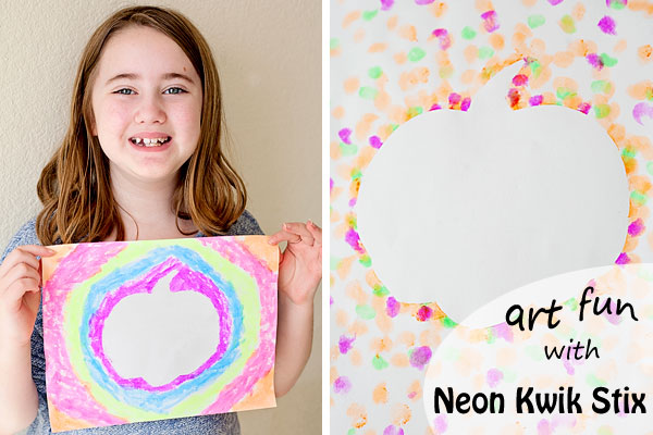 Mess free art with Neon Kwik Stix - the perfect smash up of markers and paint!  | Running With Spears #kidsartsupplies #neon #artproject