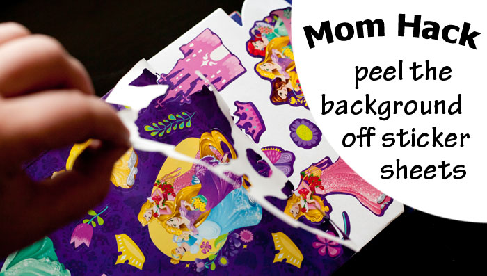 Mom Hack - Peel the background paper off sticker sheets so toddlers can get stickers off themselves! | Running With Spears #momhack #parenthack #toddlers