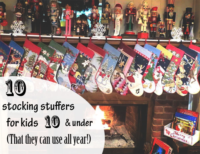 "10 stocking stuffers that aren't ""Christmas"" themed (and thus stuffed away in a box for 11 months out of the year. Bonus - these 10 items will help your kids stay happy while they wait to open the rest of their gifts! 