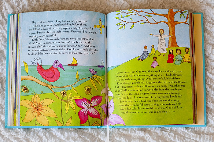 "The Jesus Storybook Bible - my favorite Bible stories to read my girls! It's a heartwarming children's book telling the central stories of the Bible in a way that makes it clear that each and every one points us to our rescuer, Jesus, and shows us over and over that God loves us with a ""never stopping, never giving up, unbreaking, always and forever love."" 