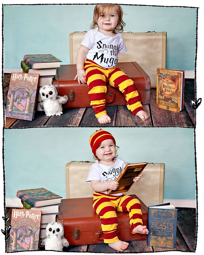 Harry Potter themed one year photography session - Snuggle this Muggle | Running With Spears #photographyinspiration #babyphotography #harrypotterphotography