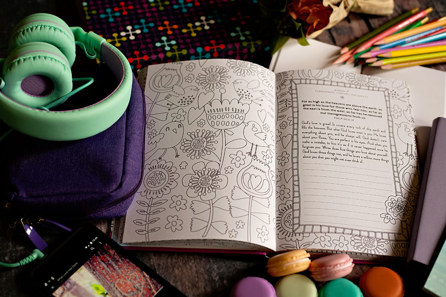 Faithgirlz Promises For You Coloring Devotional 60 Days Discovering God's Hope And Love - Review by Running With Spears #coloringdevotional #tweendevotional #faithgirlz