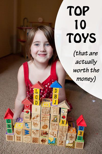 Ten years ago we began amassing bookoos of toys for kiddo number one. - Three additional kids later, there are literally only TEN toys (or sets of toys) that have been beloved by all. Here are the winners. | Running With Spears #kidstoys #newparents #kids