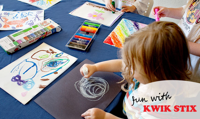 Kwik Stix! The perfect smash-up of paint and markers!  These are a huge hit! Now available at all  BJ's Wholesale Clubs!  | Review of free product by Running With Spears #kidsart #messfreeart