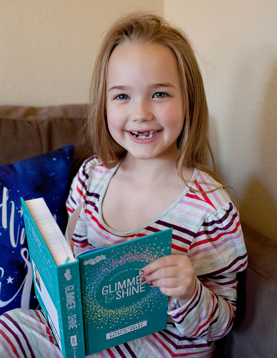 Glimmer And Shine - 365 Devotions To Inspire by Natalie Grant | Review by Running With Spears --- the best devotional I've found for girls eight and up! It goes deeper than others we've tried but is also so enjoyable to read! #zonderkidz #faithgirls